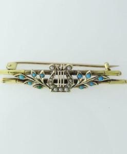 Vintage Pearl Harp Brooch