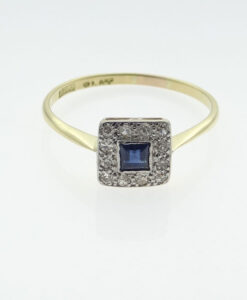 diamond and sapphire cluster ring
