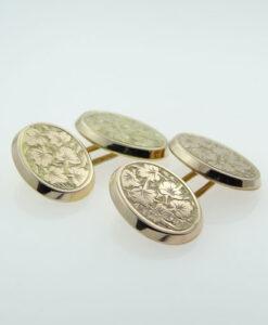 Antique Rose Gold Oval Cufflinks