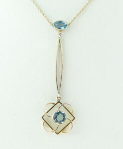 Antique Edwardian 9ct Rose Gold Blue Topaz Necklace