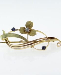 Antique 15ct Gold Diamond and Sapphire Brooch