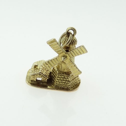 9ct Gold Moving Windmill Charm
