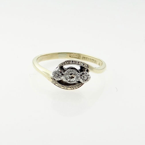 Antique 9ct Gold and Platinum Three Stone Diamond Ring