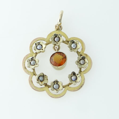 antique citrine and seed pearl pendant