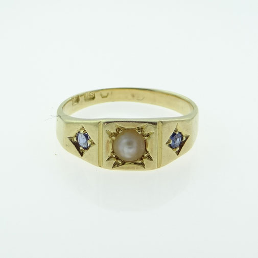 Victorian Sapphire and Pearl Ring