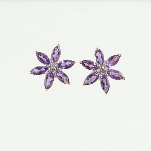 Amethyst and Diamond Flower Cluster Earrings