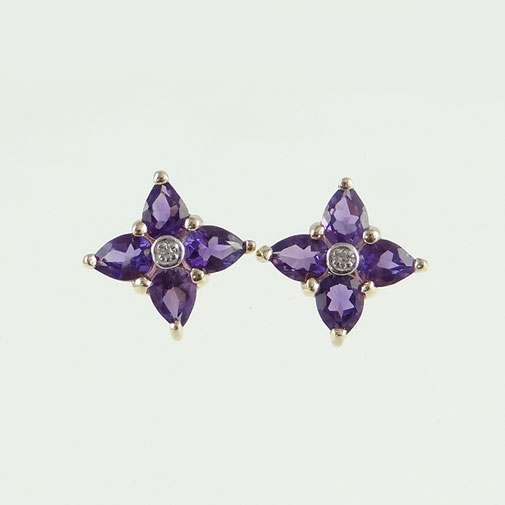 gold amethyst and diamond cluster earrings