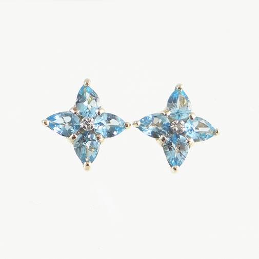 Gold blue topaz cluster earrings