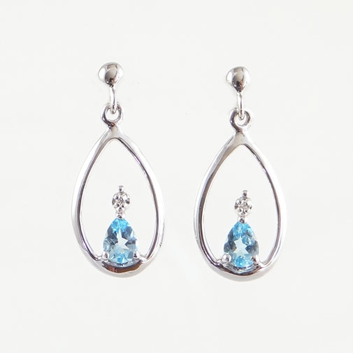 White Gold Blue Topaz and Diamond Drop Earrings