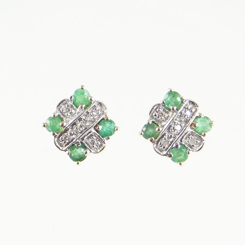 gold emerald and diamond cluster earrings