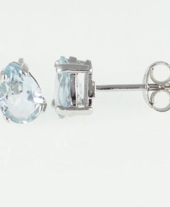 White Gold Aquamarine Pear Stud Earrings