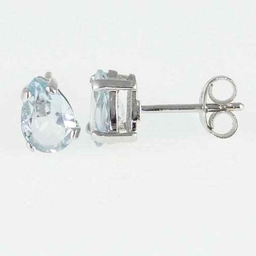 White Gold Aquamarine Pear Stud Earrings