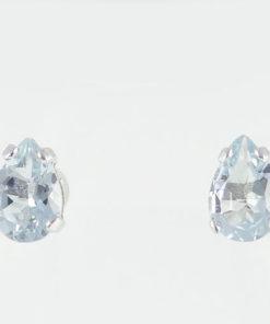 Aquamarine Pear Stud Earrings