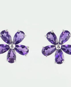 9ct gold amethyst cluster earrings