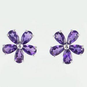 9ct gold amethyst cluster earrings