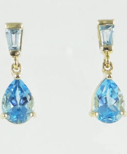 Blue Topaz Pear Drop Earrings