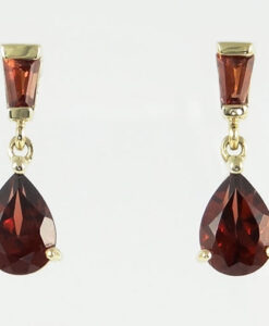gold garnet drop earrings
