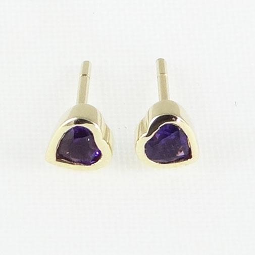 9ct Yellow Gold Amethyst Heart Earrings