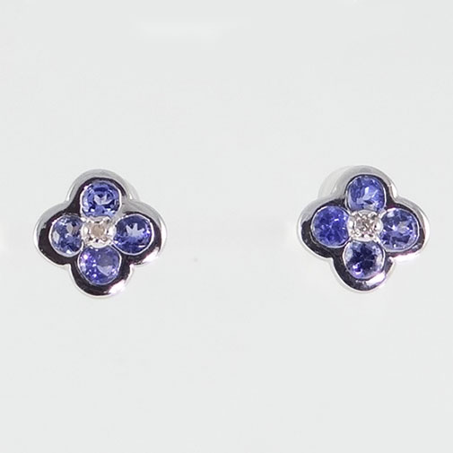 9ct Gold Tanzanite and Diamond Earrings