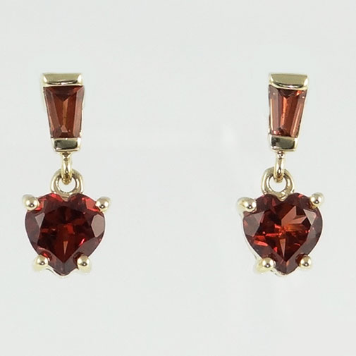 Gold Garnet Heart Drop Earrings