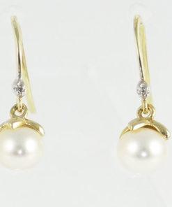 Gold Pearl and Diamond Drop Earrings