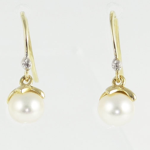 Gold Pearl and Diamond Drop Earrings