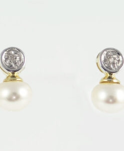 Gold Fresh Water Pearl and Diamond Earrings