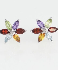 9ct gold multigem earrings