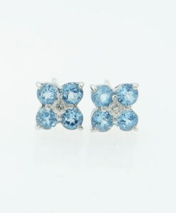 9ct white gold blue topaz and diamond cluster earrings