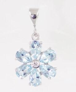 Sterling Silver Blue Topaz Cluster Pendant