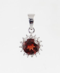 Silver garnet and diamond pendant the jewellery warehouse mozeypictures Choice Image
