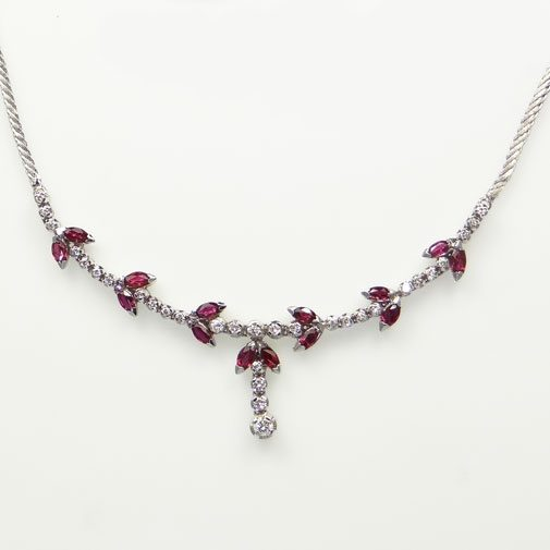 white gold diamond and ruby necklace