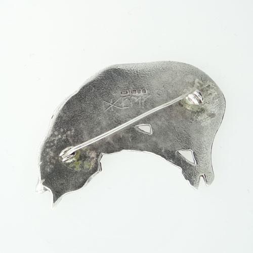 Vintage Silver David Kemp Cat Brooch