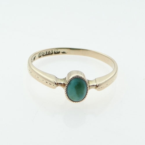 Antique 9ct Rose Gold Turquoise Ring The Jewellery Warehouse