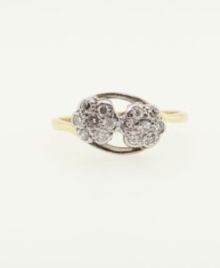 Antique 18ct Gold Double Diamond Daisy Cluster Ring
