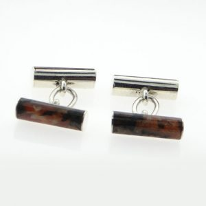 moss agate tube cufflinks