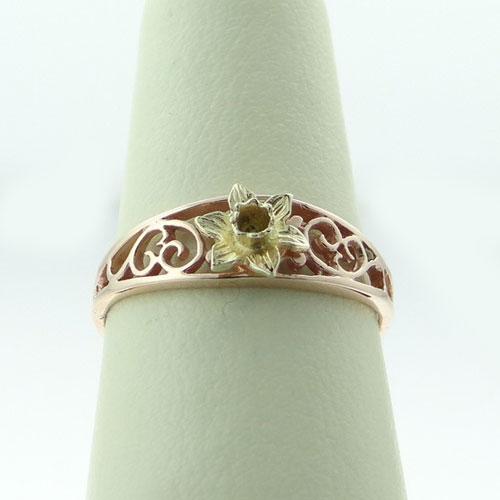 Cymru Gold Filigree Daffodil Ring