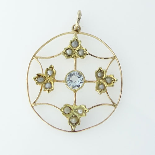 15ct Gold Aquamarine and Seed Pearl Pendant