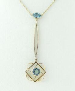 Antique Edwardian 9ct Rose Gold Blue Topaz Necklace