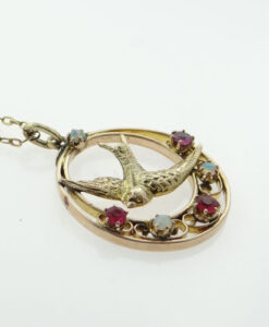 9ct Rose Gold Ruby and Opal Swallow Pendant