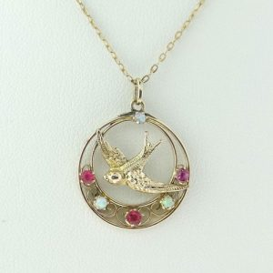 Vintage Ruby and Opal Swallow Pendant