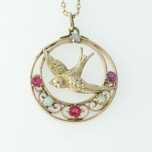 Antique Ruby and Opal Swallow Pendant