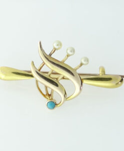 Antique 15ct Gold Pearl and Turquoise Brooch