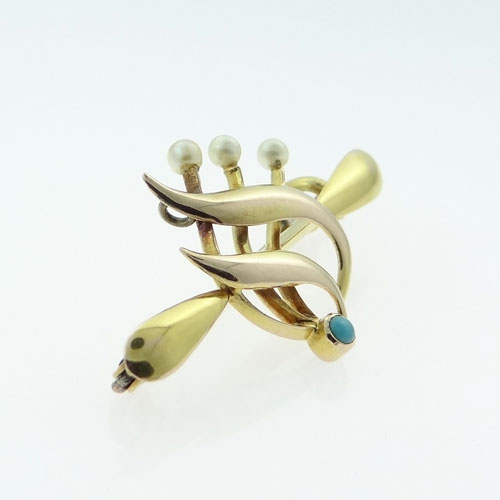 Gold Pearl and Turquoise Brooch