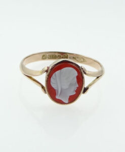 Antique 9ct Rose Gold Cameo Ring, Chester 1915
