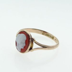 Antique Rose Gold Cameo Ring, Chester 1915