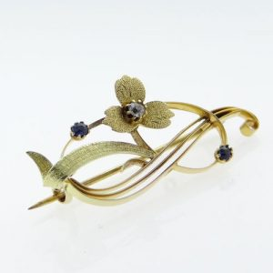 15ct Gold Diamond and Sapphire Brooch