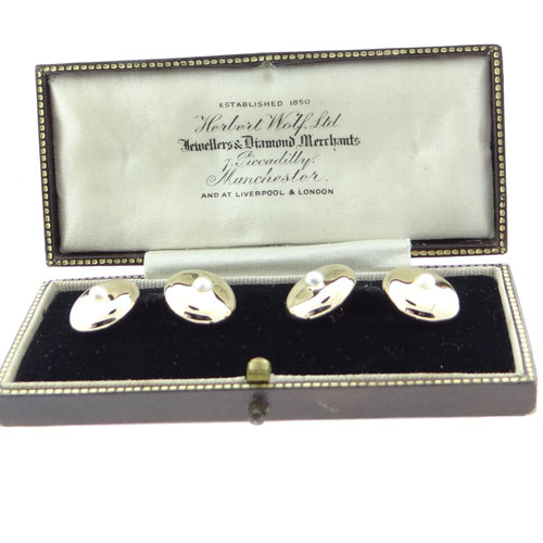 Antique 18ct Gold Pearl Cufflinks