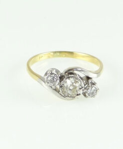 Antique 18ct Gold Diamond Twist Ring