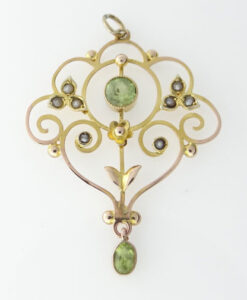 9ct Peridot and Seed Pearl Pendant